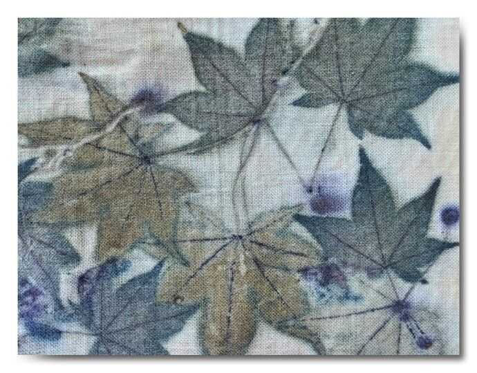Red maple leaves on cotton with an iron mordant - by Cherie Livni