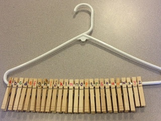 Numbered Clothespins on a Hanger. I love this concept! Could use for numbers too! Not only would it strengthen their knowledge of numerical order, but it could simultaneously work on fine motor skills. This is one of the coolest, yet most simple, tricks I've seen in a while!