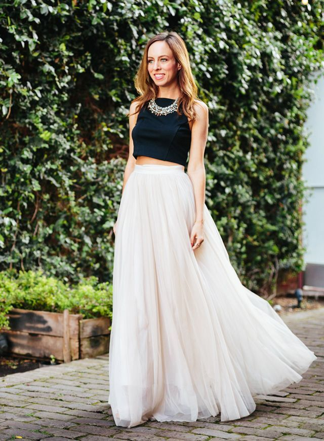 tulle maxi skirt and crop top