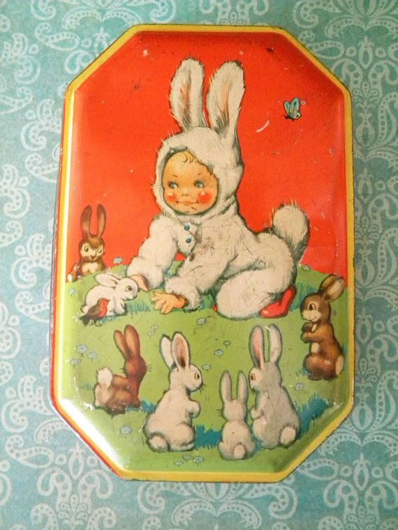Vintage Tin Candy Container with Boy in Easter Bunny Suit Toffee Tin England