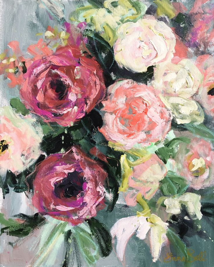 Wow those flowers! how great this floral original mixed media painting will look on your wall. Original acrylic painting - 16x20 with acrylic paint brush and palette knife, lots of texture flower spring floral, bright colors Painted on a museum quality gallery wrapped canvas with