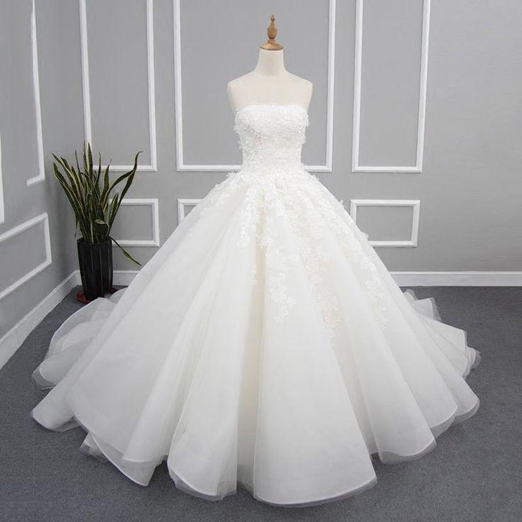 Doresuwe.com SUPPLIES ウェディングドレス Aライン トレーン花嫁ドレスストラップレス 新作ウェディングドレス (3)