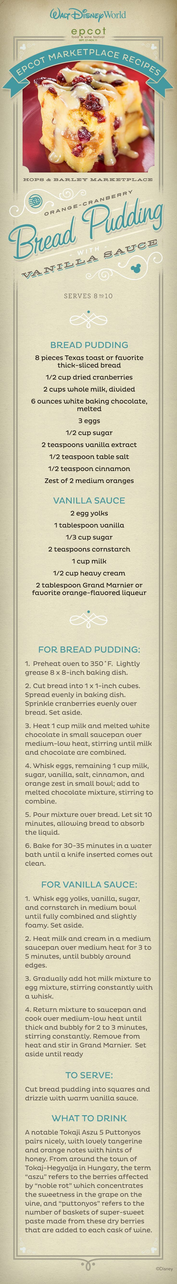 The Orange-Cranberry Bread Pudding recipe with Vanilla Sauce from #Disney: