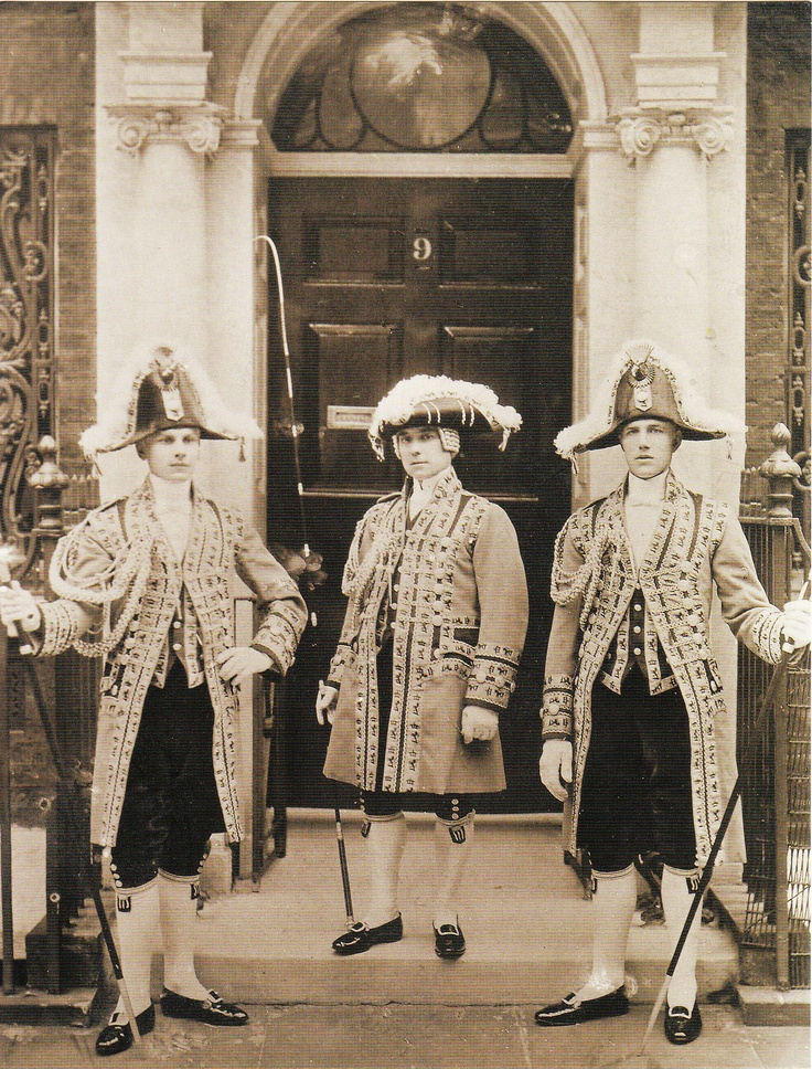 Coachman and Footmen of the 3rd Lord Egerton of Tatton outside 9 Seamore Place, Mayfair. Before the Coronation of George V. Cheshire County Council/National Trust.