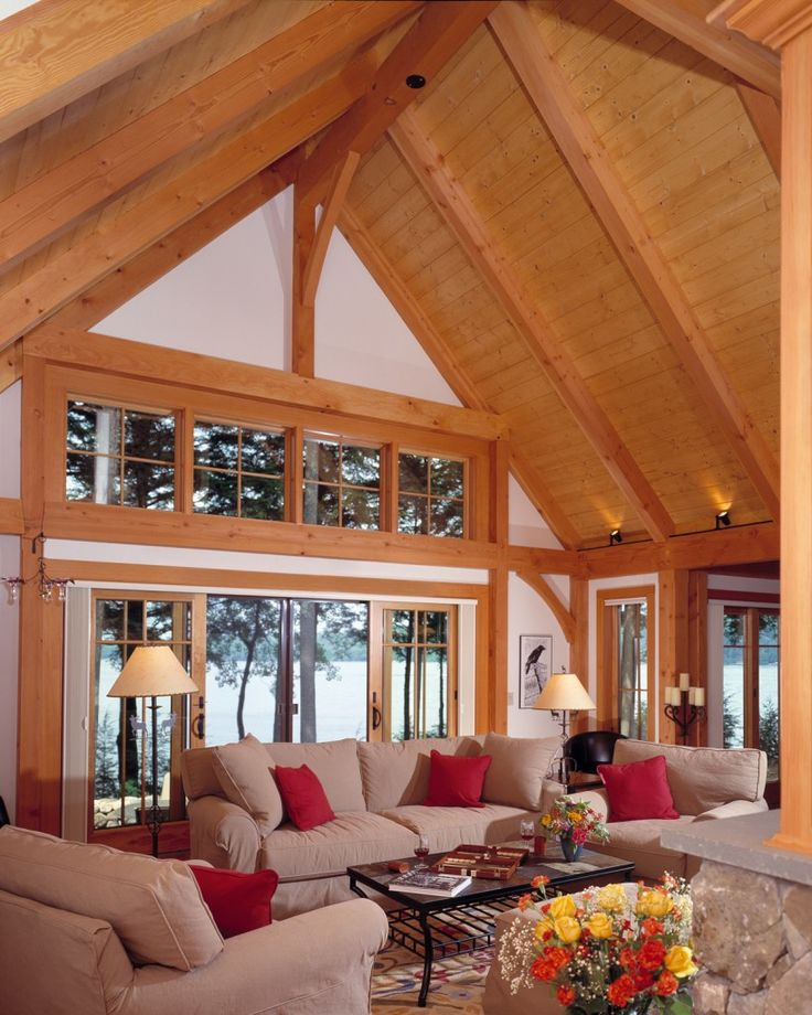 Compact Hybrid Timber Frame Home Design Photos Timber Home Living: The Ideal Ceiling Height