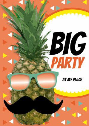Ananas met snor Big Party - Uitnodigingen - Kaartje2go