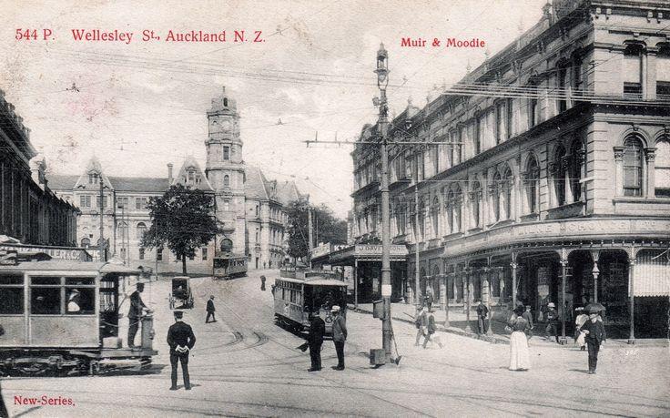 Wellesley Street, Auckland, N.Z. in about 1905. Postcard by Muir & Moodie, Dunedin, N.Z. ~ Series of Views 544 P.
