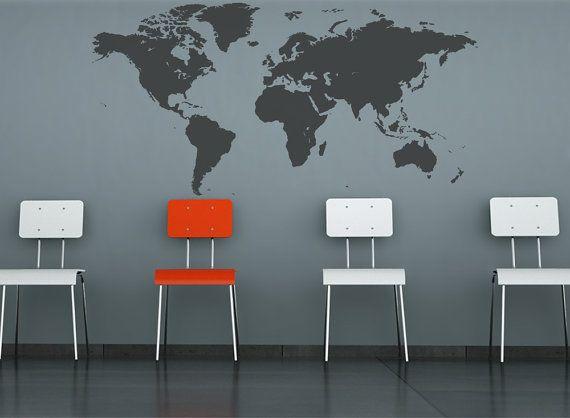 Monde carte decal décor de bureau à domicile