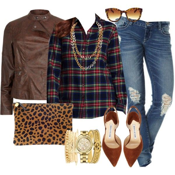 """Plaid"" by alexawebb on Polyvore I have this exact shirt!"