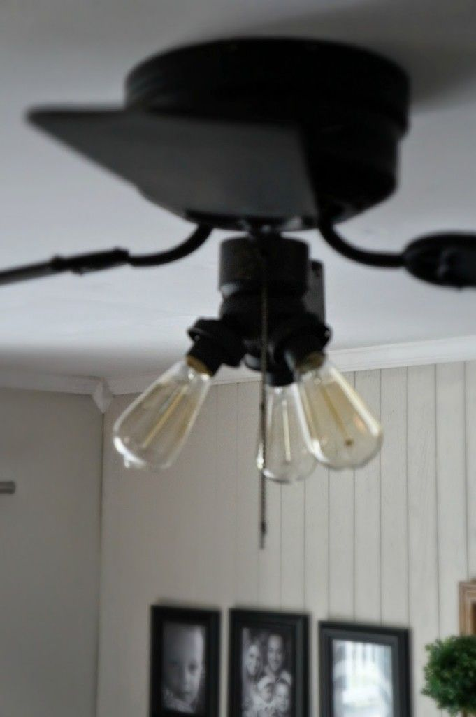 Updating A Ceiling Fan Spray Them White/black With Edison Light Bulbs.  Super Idea