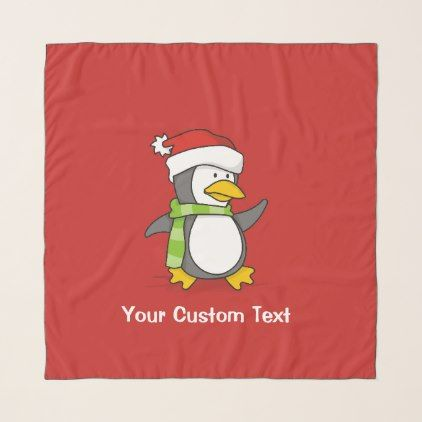 Christmas penguin walking on snow scarf - winter gifts style special unique gift ideas