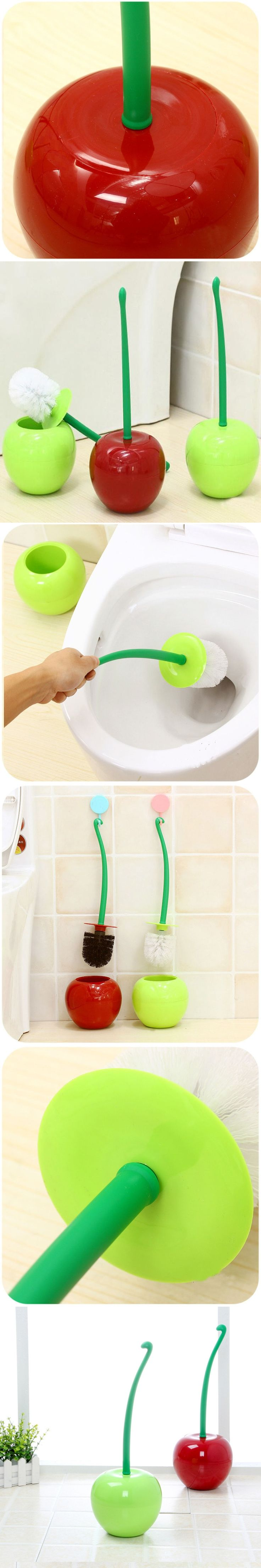 1set High quality lovely cherry shaped toilet brush with holder easy to clean toilet brush home bathroom product,Free shipping.