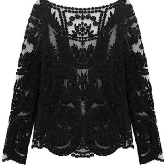 H&M Tops - H&M Black Crochet Lace Top