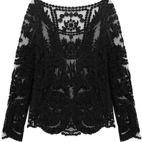 H&M Tops - H&M Black Crochet Lace Top