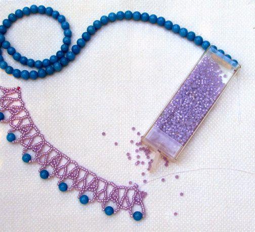 Summer Violet Necklace - free from Sandra  HTutorials  ~ Seed Bead Tutorials
