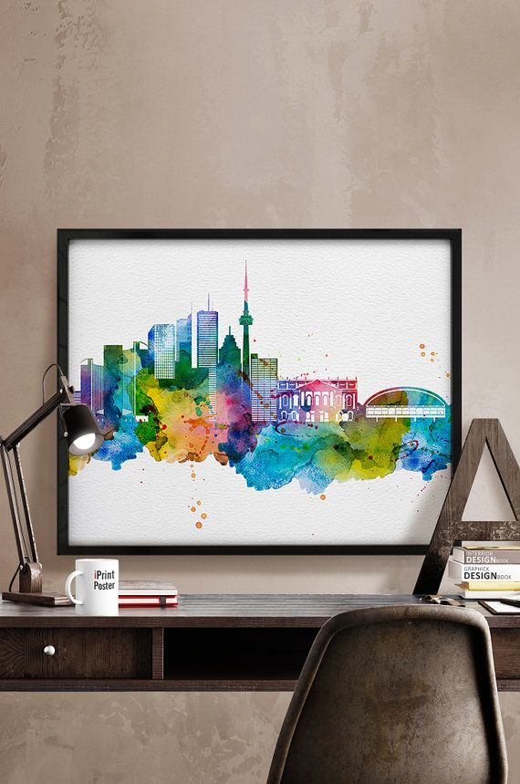 Toronto skyline Toronto print Toronto watercolor by iPrintPoster
