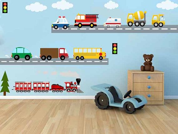Cool Kids Wall Fabric Decal City Transportation System Train Cars School bus Fire truck