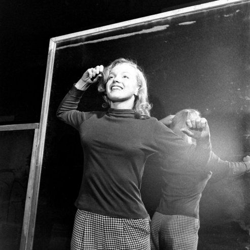 Not published in LIFE. Marilyn Monroe, 22, takes lessons with acting coach, Natasha Lytess.