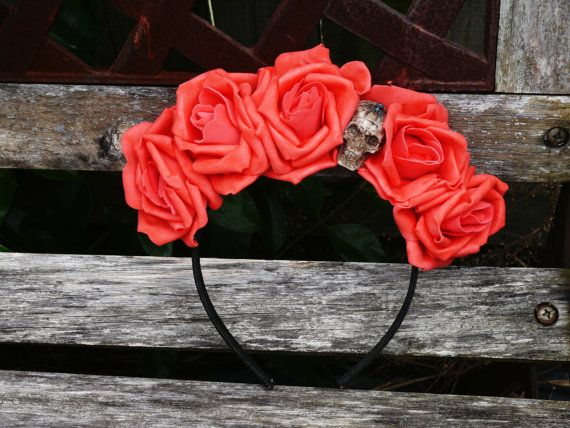 Day of the Dead inspired Floral Headband with Skull Embellishment.