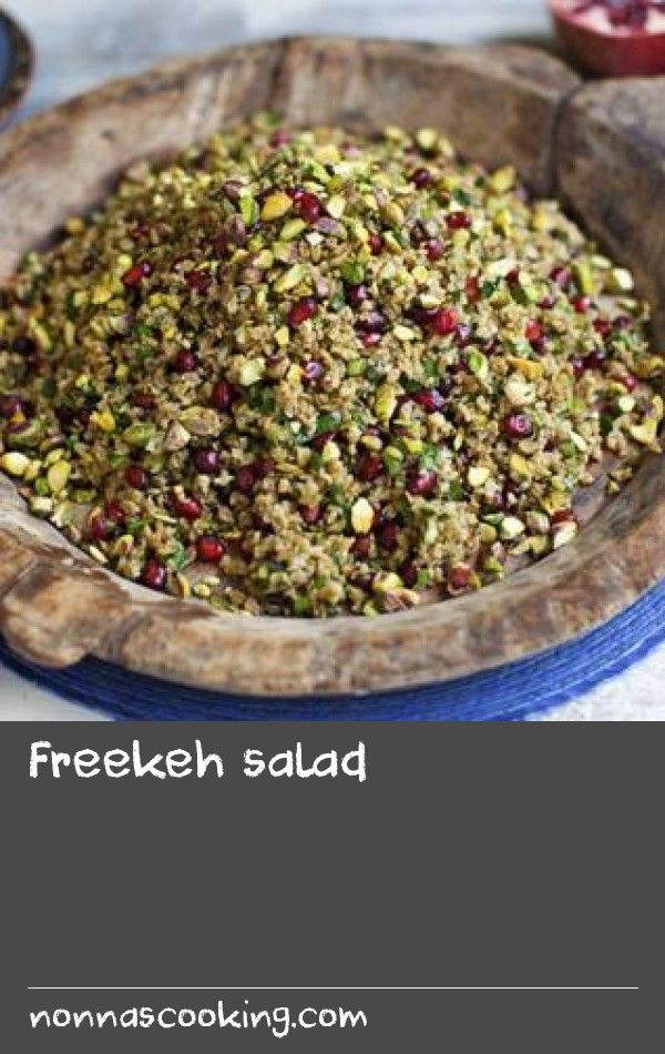 Freekeh salad |      Freekeh is dried green wheat, harvested while the grains are still soft, then sun-dried. It is very common in the Middle East and North Africa, and is used in the same way as bulgur, couscous or pearled spelt. It works well as an accompanying pilaf or a salad, in this case with pomegranate seeds, pistachios, mint and spring onion.Each serving provides 347kcal, 6g protein, 46g carbohydrates (of which 7g sugars), 18g fat (of which 3g saturates), 1.5g fibre and0g salt.