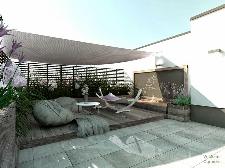 space for children, rooftop terrace by W Moim Ogrodzie  minimalist garden,rooftop garden, modern terrace, modern garden design