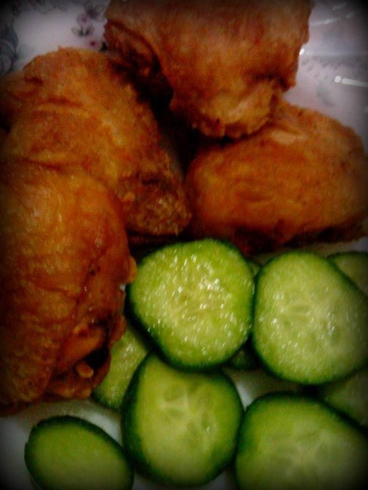 crispy juicy fried chix & salted tossed cucumber