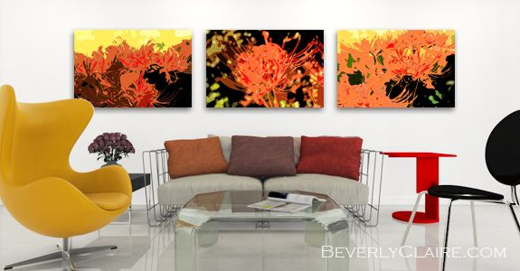 Trio of Resurrection Lilies in a Contemporary Room with Autumn Hues by Beverly Claire Kaiya