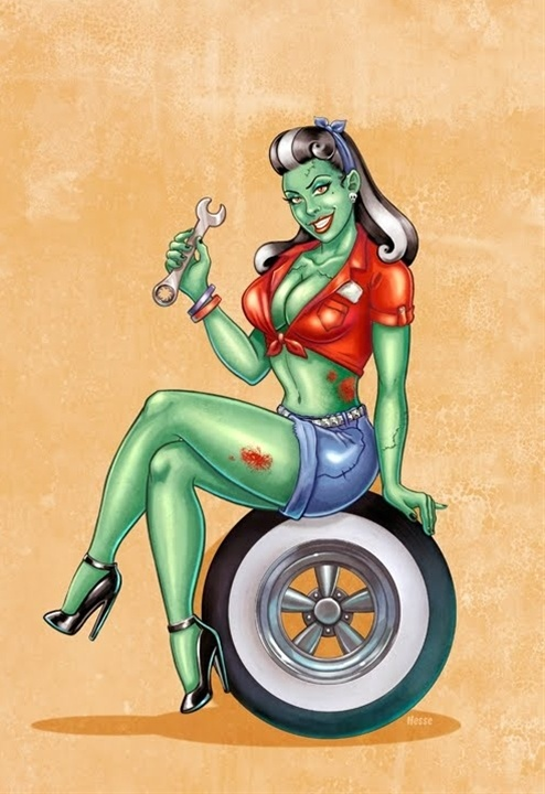 Zombie pin-up girl.