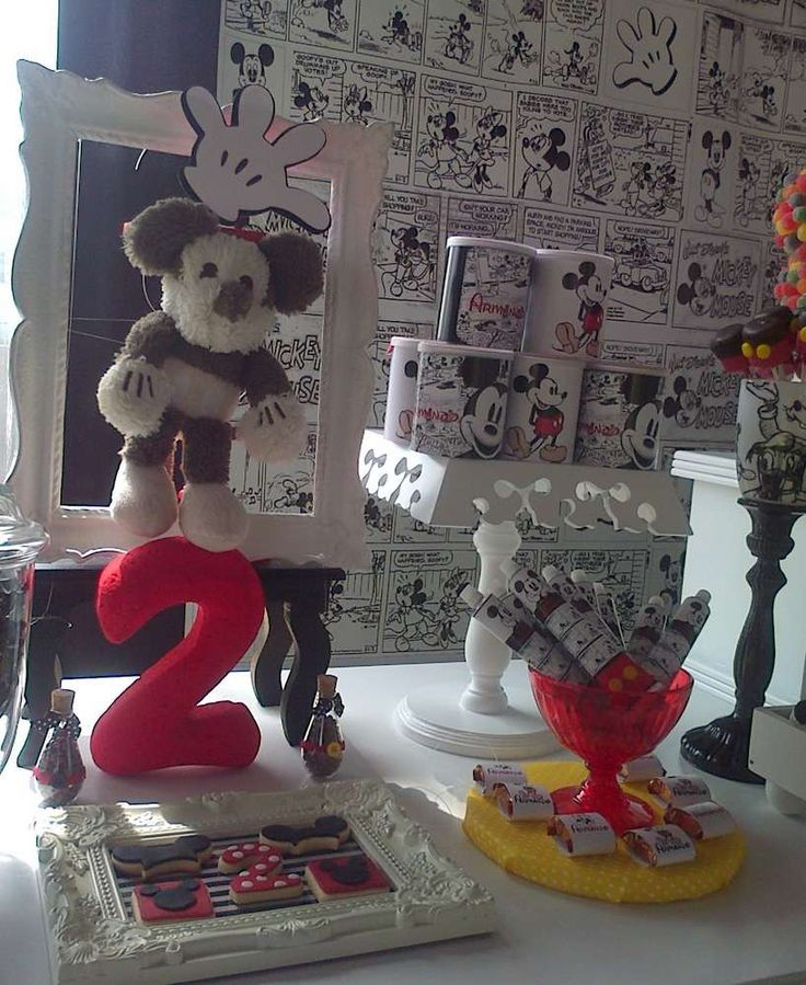 Black and white decor at a Mickey Mouse birthday party! See more party planning ideas at CatchMyParty.com!