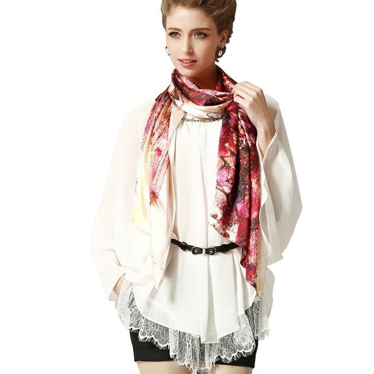 68.9x21.7inch - 175x55cm Silk Wrap - Floral H7 - Scarves & Wraps - Women