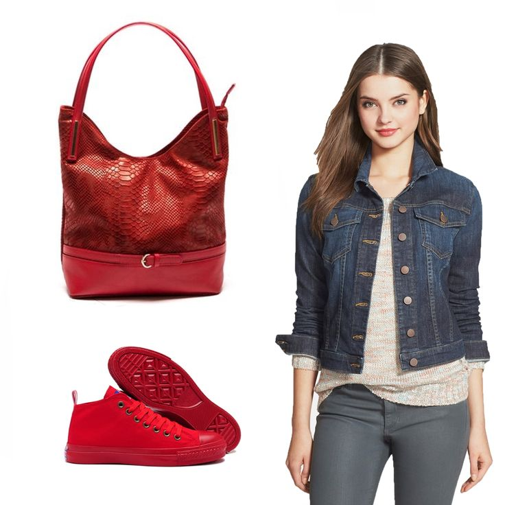 #OOTD: This red shopper leather bag by #SofiaCardoni is perfect with a denim jacket and a pair of red sneakers.