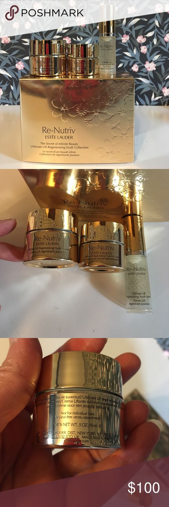 Estée Lauder Re-Nutriv Ultimate Lift set Brandnew in box, just came in.  Total worth $218.36+tax.  Great for gift or travel.  Including:1 Ultimate Lift Regenerating Youth face cream 0.5oz worth $89.71; 2 Ultimate Lift Regenerating Youth eye cream 0.24oz worth $76.80; and 3 Ultimate Lift Regenerating Youth Serum 0.17oz worth $51.85. Estee Lauder Makeup