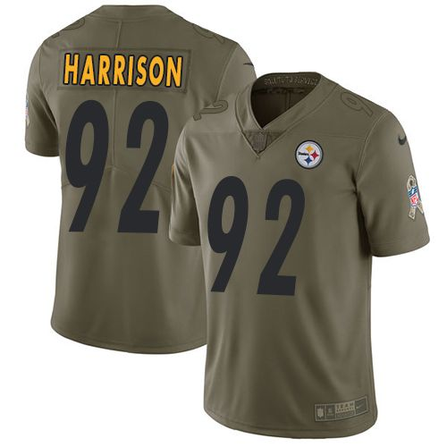 Nike Steelers #92 James Harrison Olive Men's Stitched NFL Limited 2017 Salute to Service Jersey
