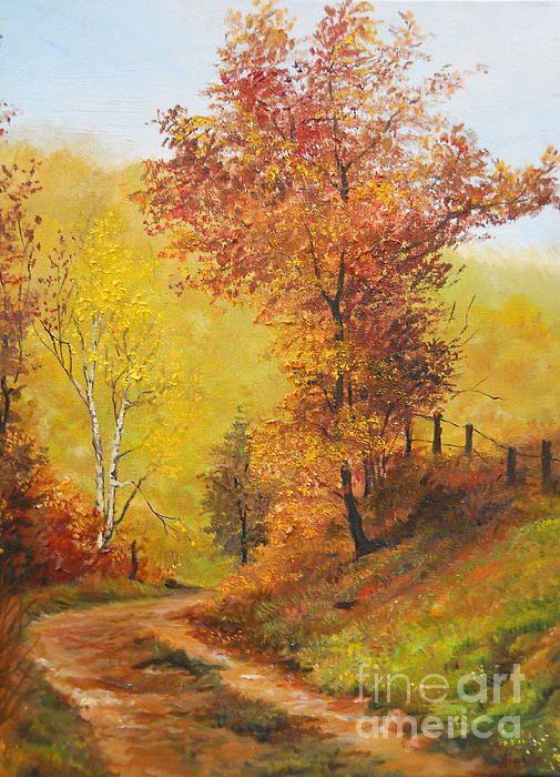 "Oil on canvas, ""On My Way Home,"" by Sorin Apostolescu, Fine Art America.| #autumn_art #fineart #fineartprints"