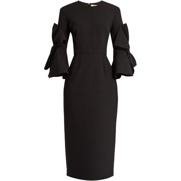 Roksanda Lavete bow-sleeved crepe midi dress ($1,204) ❤ liked on Polyvore featuring dresses, black, wrap style dress, roksanda, long-sleeve midi dresses, crepe fabric dress and structured midi dress
