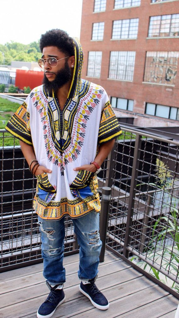 White Dashiki Hoodie by MuurSwagg on Etsy