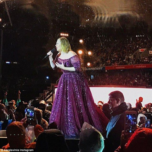 Still rocking it: Adele looked sensational in a pink sparkly gown as she performed her final tour date until the summer