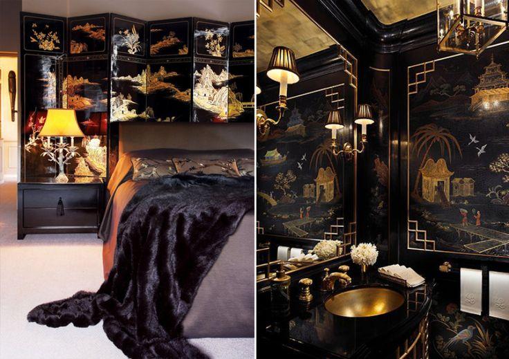 Азиатский стиль в интерьере с элементами декора из черных и золотых оттенков