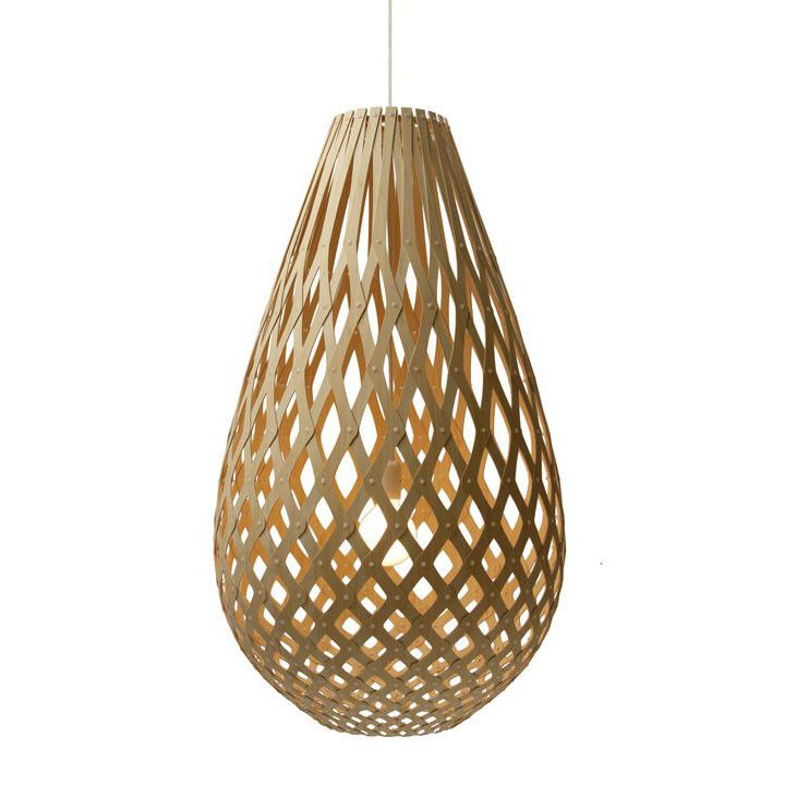 I'm thinking of quite a large Koura pendant light in the stairway, as it was one of your original choices and it's long basket shape ensures a lovely void filler