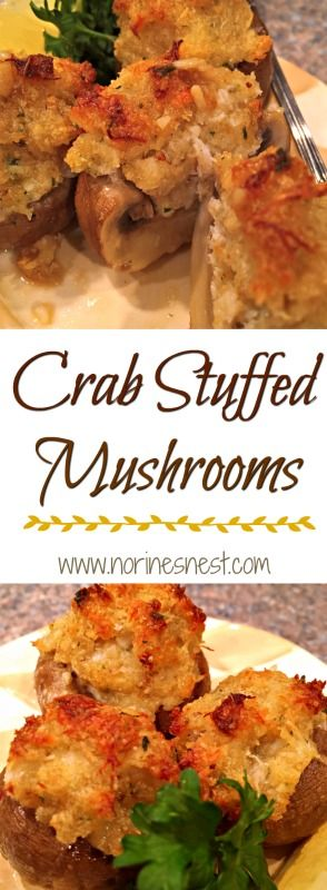 Tender Flavorful Mushrooms are stuffed with luscious crab meat and Parmesan Cheese and drizzled in Garlic Butter. #appetizers #holidayfoods #crab