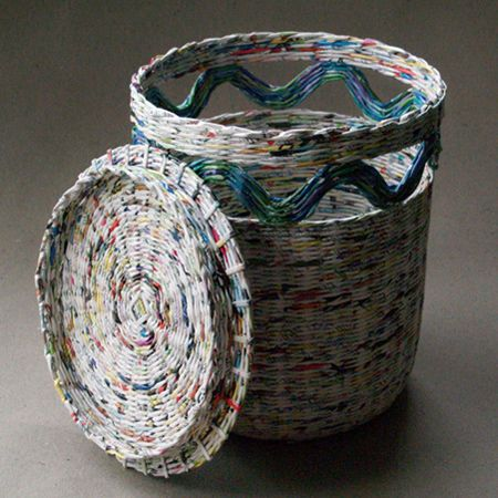 paper basket weaving  | Weaving baskets with newspaper : More newspaper basket weaving ideas