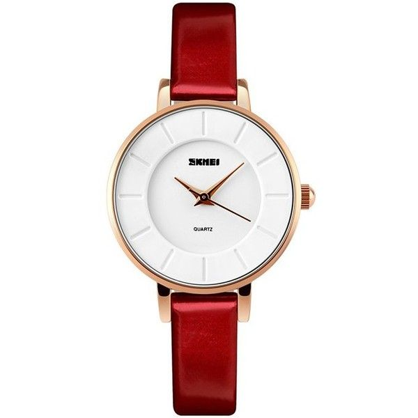 Red SKMEI Faux Leather Strap Analog Watch ($13) ❤ liked on Polyvore featuring jewelry, watches, analogue watch, red wrist watch, analog watches, analog watch and red jewellery