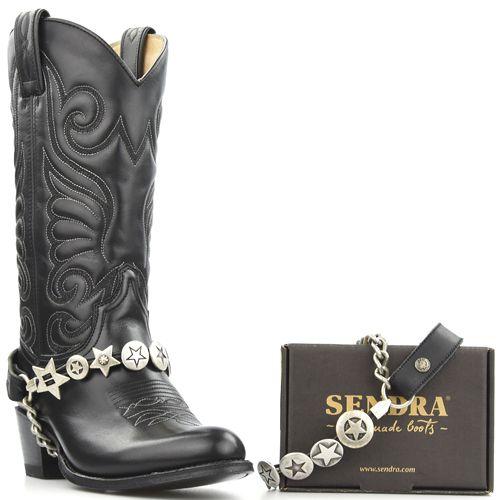 Sendra boots belts zilveren sterren concho's zwart