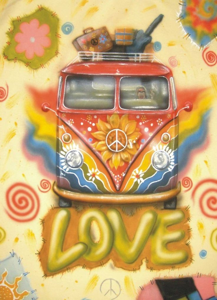 hippie bus - I was too young for this era (pre-teen) but I remember the colors, the symbols, etc.