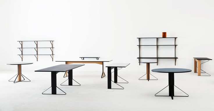 Artek presents Kaari, the first collaboration between Ronan & Erwan Bouroullec and the Finnish design company. Based on a simple, yet intelligent component, the Kaari Collection comprises rectangular and round tables in two sizes as well as a desk, a wall console, a small round shelf and larger shelves.