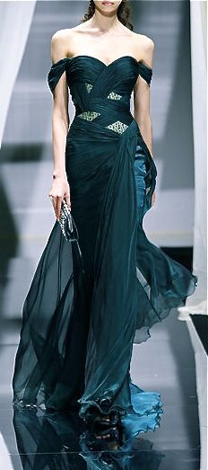 Zuhair Murad exquisite couture teal and chiffon gown