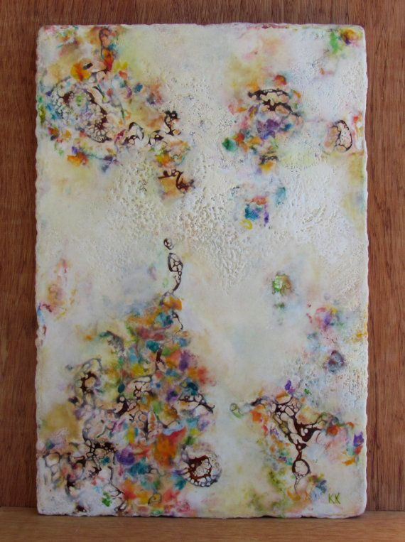 Original Encaustic Painting - Abstract Painting - Floral Abstract - Beeswax Art - 12 x 18 - KLynnsArt