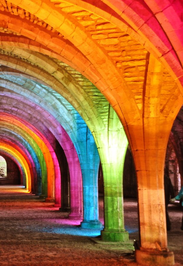 Rainbow Arches by Michael Adcock.  Can see this or similar (maybe a bit more muted for Chch!) at the Arts Centre