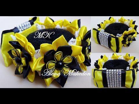 РЕЗИНКА НА ПУЧОК, МК / DIY Kanzashi Flower Bun Garland Headband / DIY Hair Bun…