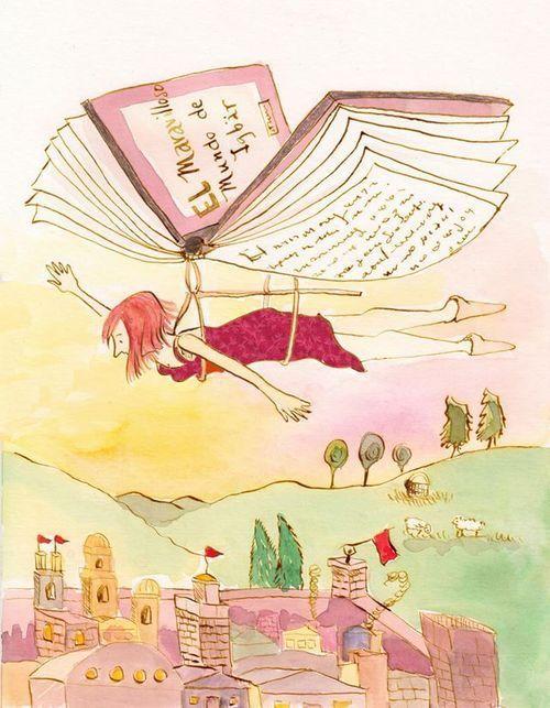 Volando con la lectura (ilustración de Antonia Roselló):